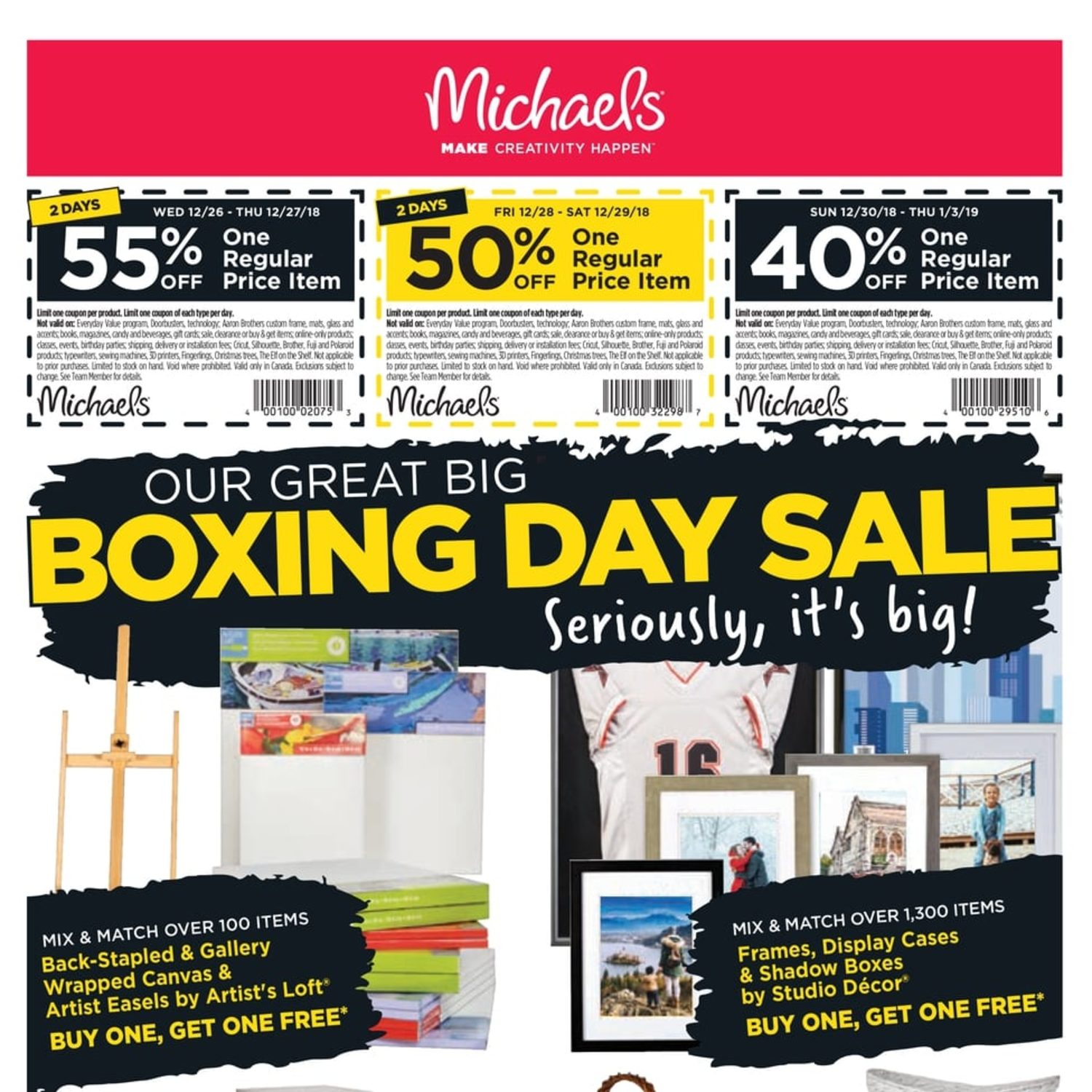 Michaels Weekly Flyer - Our Great Big Boxing Day Sale - Dec