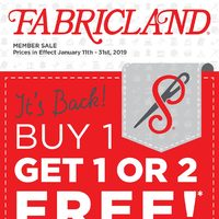 Fabricland - Members Sale - Buy 1 Get 1 or 2 Free! Flyer