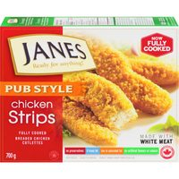 Janes Popcorn Chicken Pub Style Chicken Burgers, Fries, Nuggets or Strips