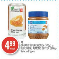PC Organics Pure Honey Or Blue Menu Almond Butter