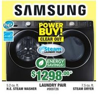 Samsung 5.2 Cu. Ft. H.E. Steam Washer, 7.5 Cu. Ft. Steam Dryer Laundry Pair
