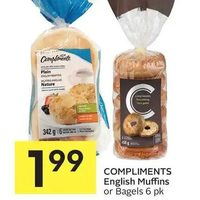 Compliments English Muffins Or Bagels