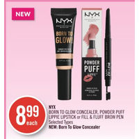 Nyx Born To Glow Concealer, Powder Puff Lippie Lipstick Or Fill & Fluff Brow Pen