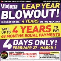 Visions Electronics - 4-Days Only - Leap Year Blowout! Flyer