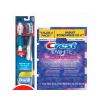Crest 3D White Toothpaste, Arm & Hammer Sprinbrush or Oral-B Pro-Health Battery Toothbrush
