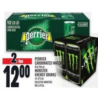 Perrier Carbonated Water, Monster Energy Drinks
