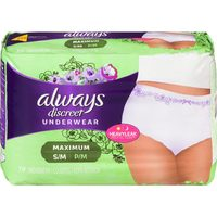 Depend, Poise or Always Discreet Incontinence Underwear or Pads