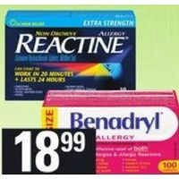 Reactine Allergy Tablets, Liquid Gels or Benadryl Caplets