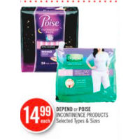 Depend Or Poise Incontinence Products