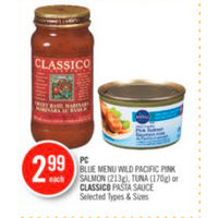 PC Blue Menu Wild Pacific Pink Salmon, Tuna Or Classico Pasta Sauce