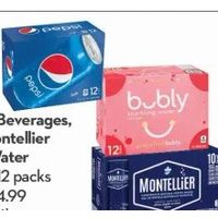 Pepsi-Cola Beverages, Bubly or Montellier Sparkling Water