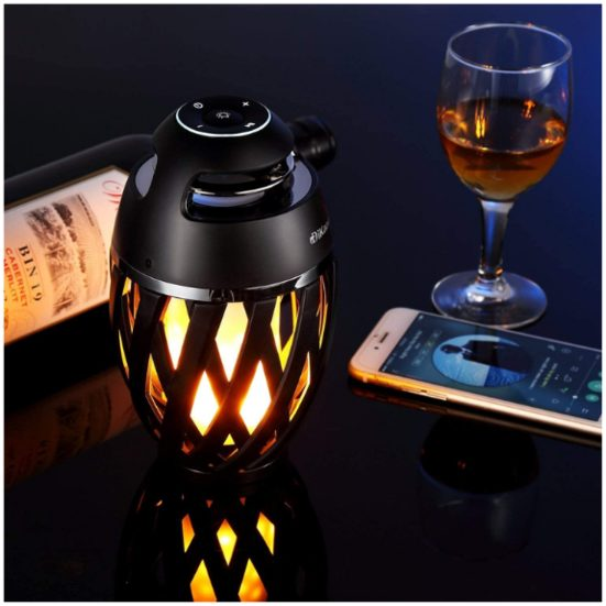 8. Best Outdoor Speaker: DIKAOU LED Flame Speaker