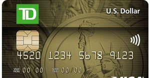 [TD® U.S. Dollar Visa* Card] U.S. dollar purchases without credit card foreign currency conversion fees.