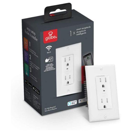 3. Best Smart Receptacle: Globe Electric 50024 Wi-Fi Smart Receptacle