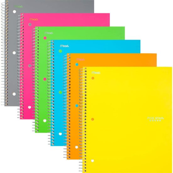2. Runner Up: Five Star Spiral Notebooks, 1 Subject, College Ruled Paper, 100 Sheets, 11 x 8-1/2 inches, Assorted Colors, 6 Pack