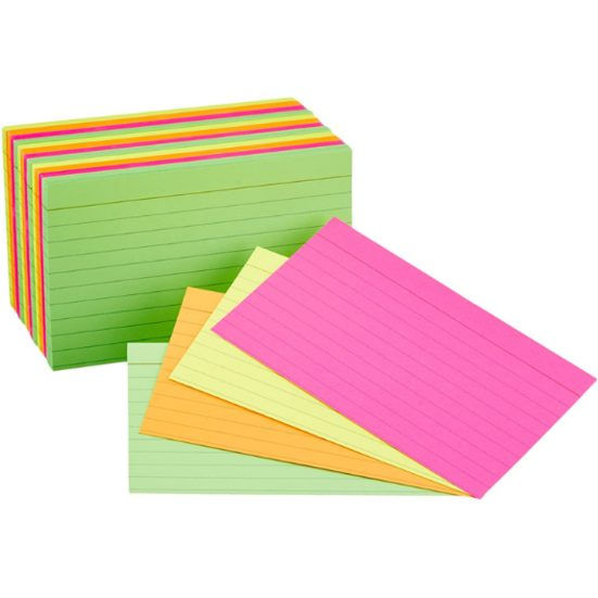 6. Best Index Cards: AmazonBasics Ruled Index Flash Cards, Assorted Neon Colored, 3x5 Inch, 300-Count