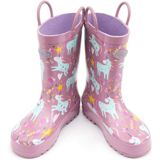 7. Best For Toddlers: Outee Toddler Kids Rubber Rain Boots