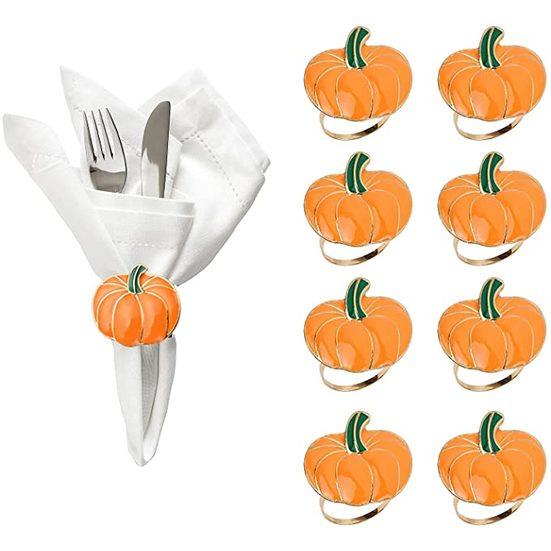 9. Best Thanksgiving Themed Napkin Rings: hatatit Napkin Rings Set of 8 Thanksgiving Napkin Holders