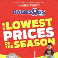 Babies R Us - 2 Week Event! - Our Lowest Prices of the Season Flyer