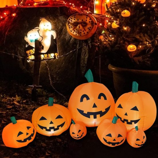 1. Best Outdoor Decoration: Inflatable Halloween Decorations,7.5 FT Long 7 Pumpkins