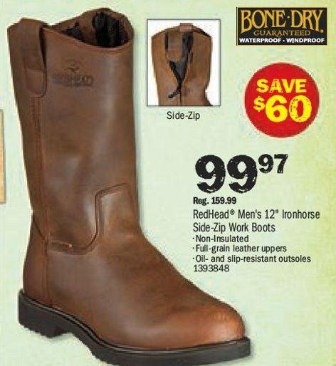b85608551f8 Bass Pro Shops: RedHead Ironhorse Side-Zip Wellington Waterproof ...