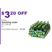 Perrier Sparkling Water 24x330ml - $3.20 off