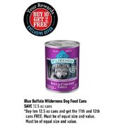 Blue Buffalo Wilderness Dog Food Cans - Buy 10 Get 2 Free