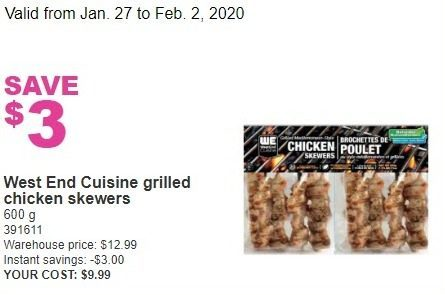 Costco West End Cuisine Grilled Chicken Skewers Redflagdeals Com