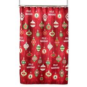Feliz Navidad Shower Curtain And Hooks Set In Red - $4.99 - $22.99