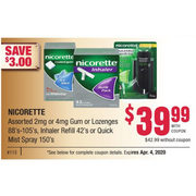 Nicorette 2Mg Or 4Mg Gum Or Lozenges, Inhaler Refill Or Quick Mist Spray - $39.99/with coupon ($3.00 off)
