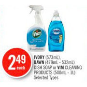 Ivory, Dawn Dish Soap Or Vim Cleaning Products - $2.49