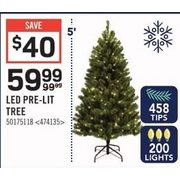 LED Pre-Lit Tree - 5' - $59.99 ($40.00 off)